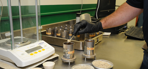cement samples being prepared to weigh
